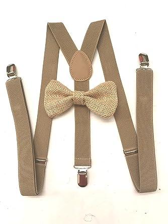 Amazon Com Khaki Burlap Bow Tie For Mens Brown Suspenders Groomsmen