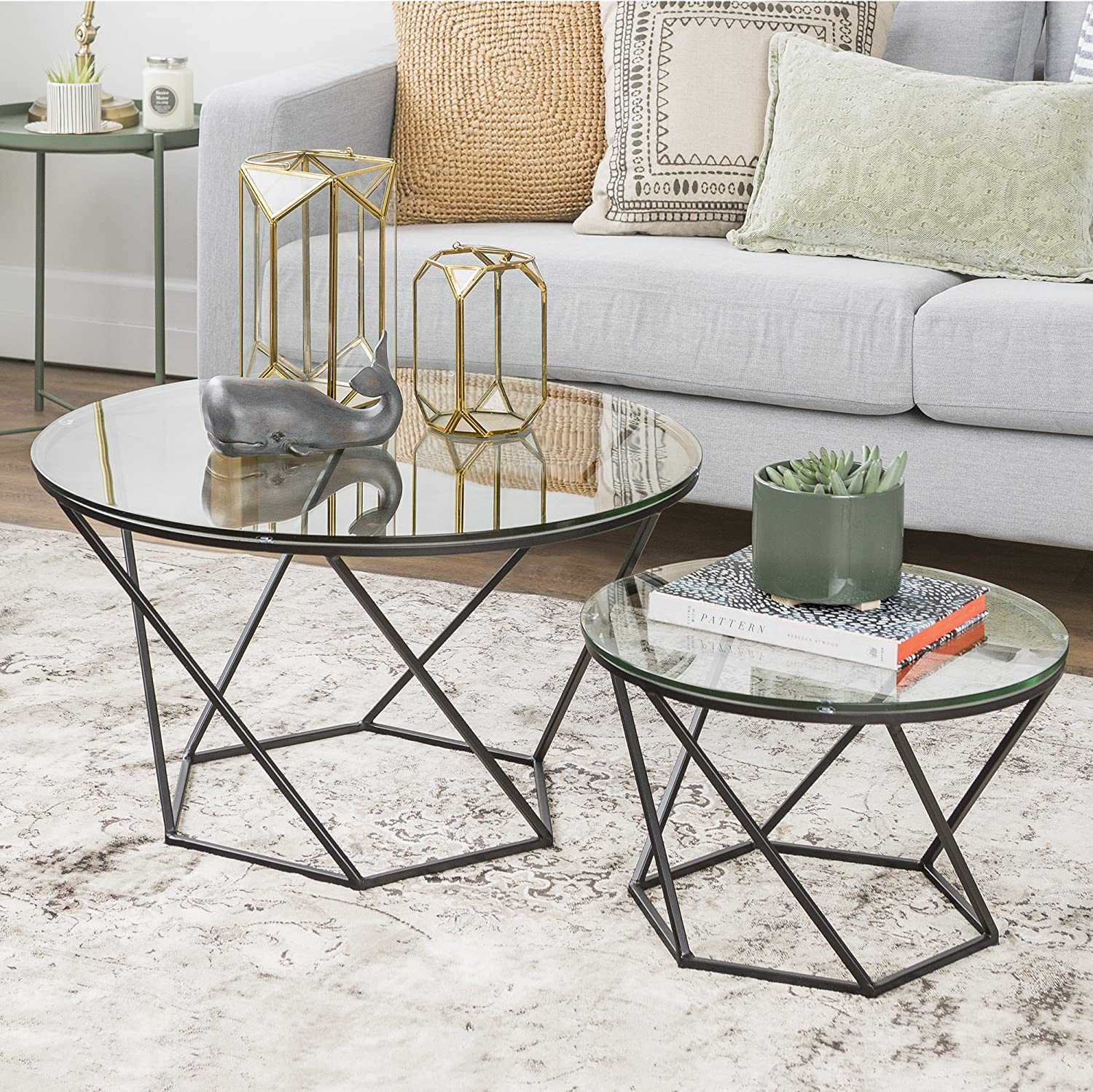 Amazon Com New Geometric Glass Nesting Coffee Tables With Black Finish Kitchen Dining