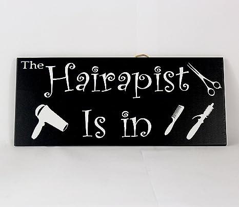 Amazon.com: Letrero decorativo para peluquería con texto en ...