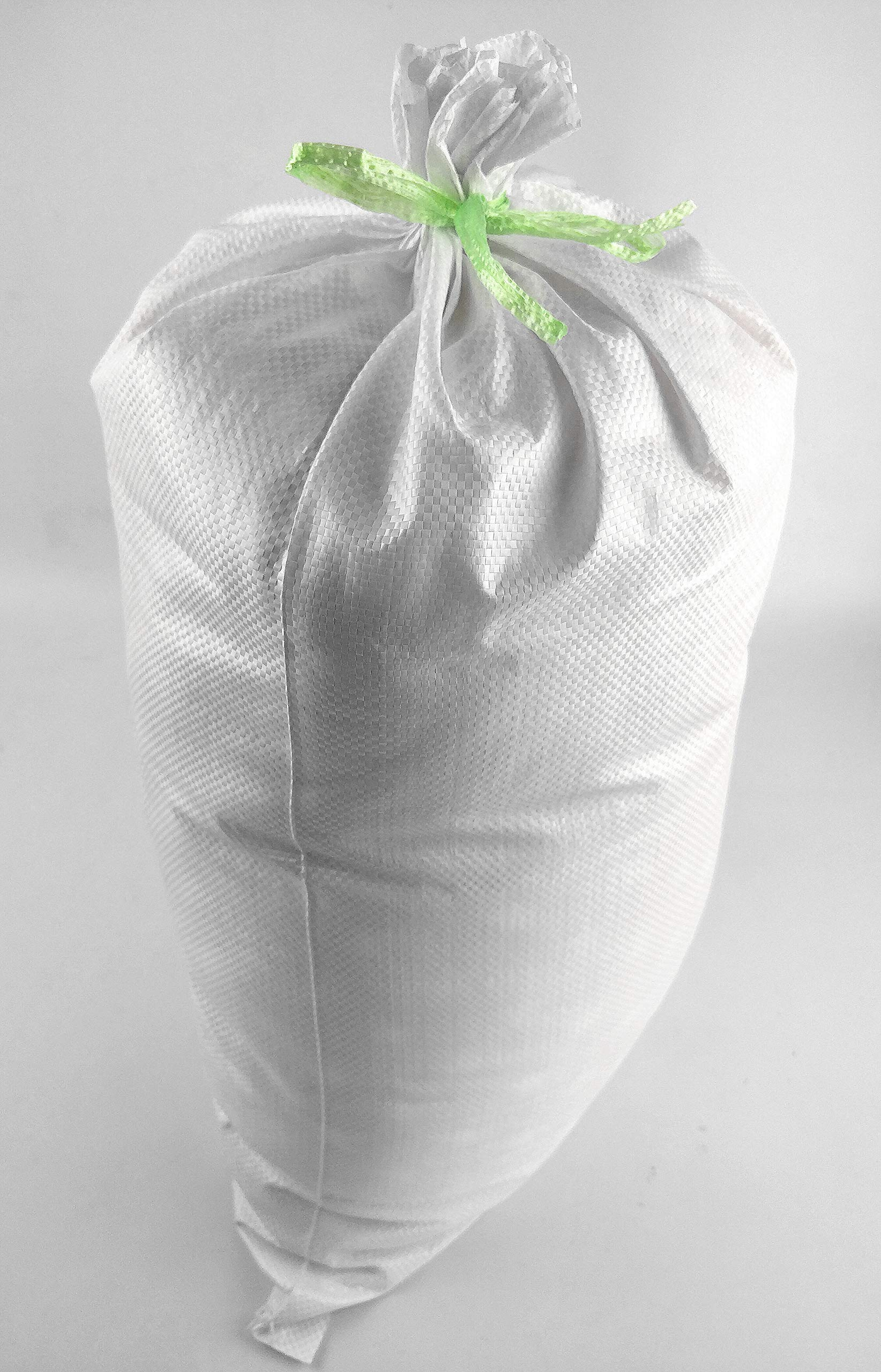 Sand Bags 14'' x 26'' Empty White Woven Polypropylene Sandbags Ties Included, 5 Pack/20 Pack (20) by Relarr