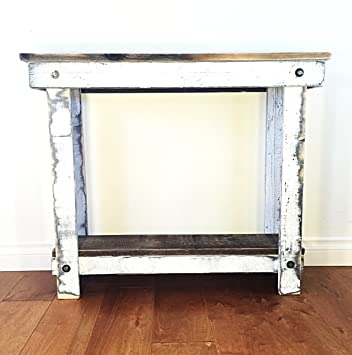 Rustic Handcrafted Reclaimed Console Table   Self Assembly   Natural And  White