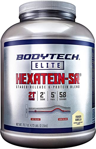 BodyTech Hexatein SR Staged Release 6 Protein Blend for Muscle Growth Recovery EFA s, MCT s CLA, French Vanilla 4.73 Pound Powder