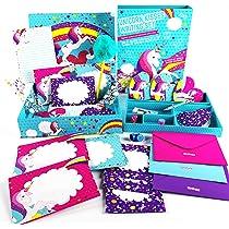 GirlZone Set de Papel de Carta Unicornio para Niñas Juego con Hojas, Tarjetas, Sobres, Bolígrafos, Goma, Pegatinas, Cinta Adhesiva y Sellos - Papeleria 3 a 12 años: Amazon.es: Juguetes y juegos