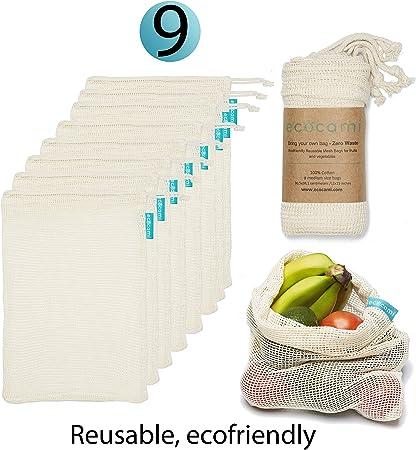 ecocami 9PCS Bolsas Compra Reutilizables,Bolsas de Algodón Reutilizables para Fruta,Verduras,Juguetes,Lavable y Transpirable, Ecológicas y Biodegradables (9M): Amazon.es: Hogar