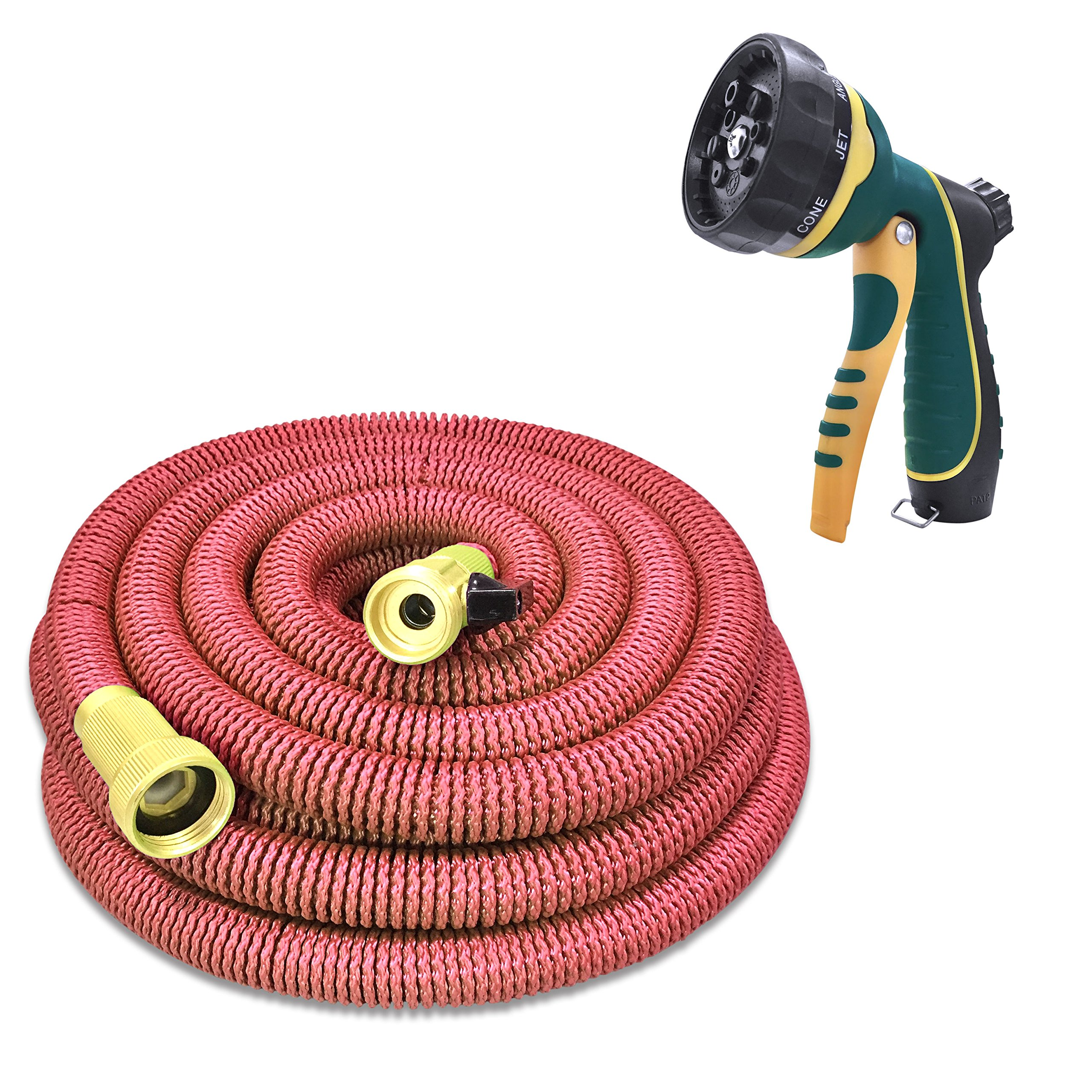 N-Green Expandable Garden Hose - 25/50/75/100 Feet Strongest Triple Core Latex and Solid Brass Fittings Free Spray Nozzle 3/4 USA Standard Easy Storage Kink Free Flexible Water Hose (25 Feet)