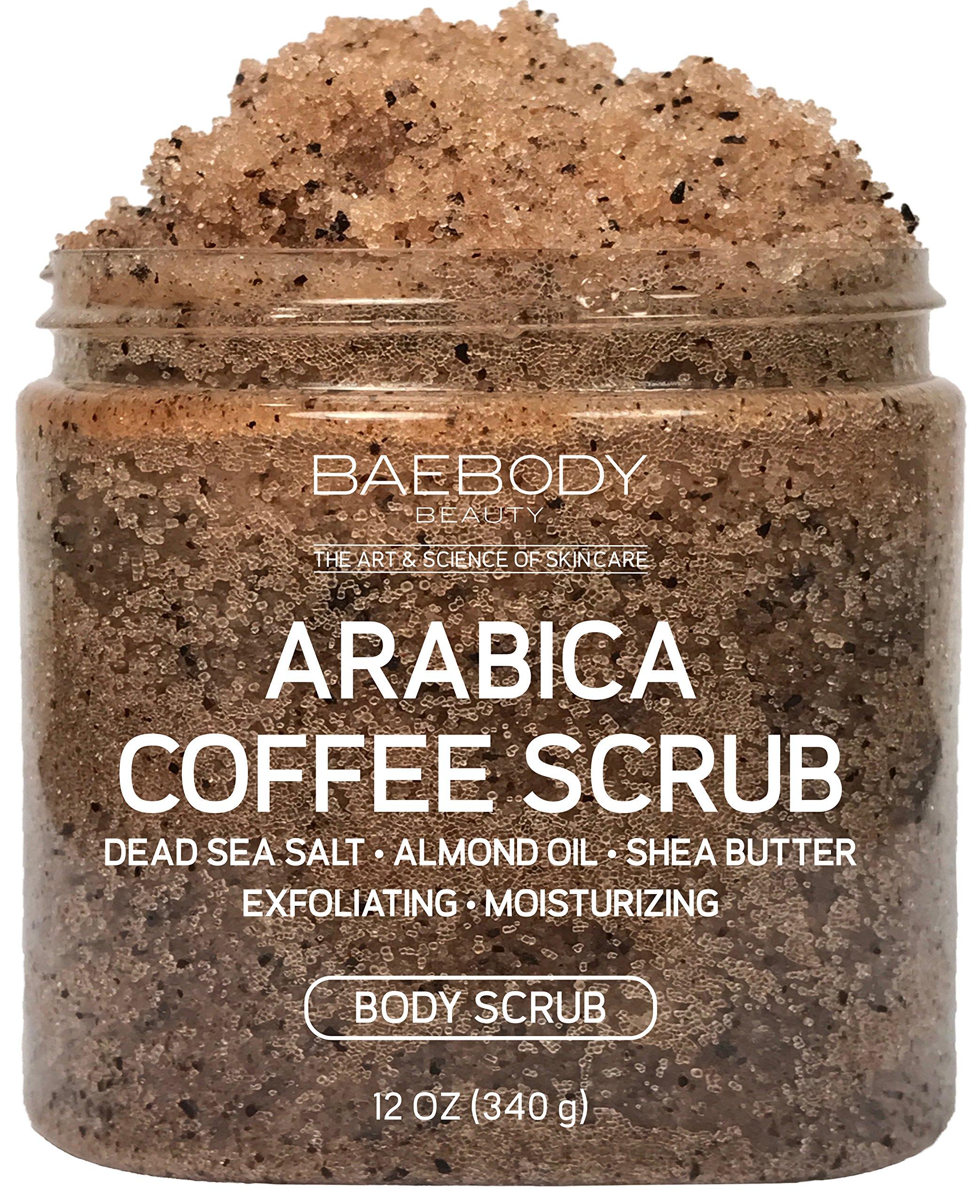 Baebody Arabica Coffee Scrub - With Dead Sea Salt, Olive Oil, and Shea Butter. Exfoliator, Moisturizer Promoting Radiant Skin 12oz