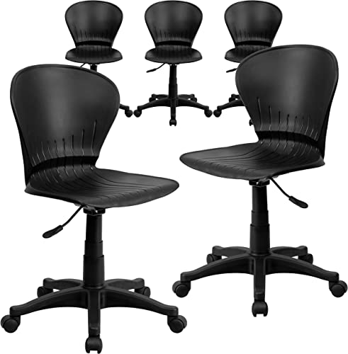 Flash Furniture 5 Pack Mid-Back Black Plastic Swivel Task Office Chair