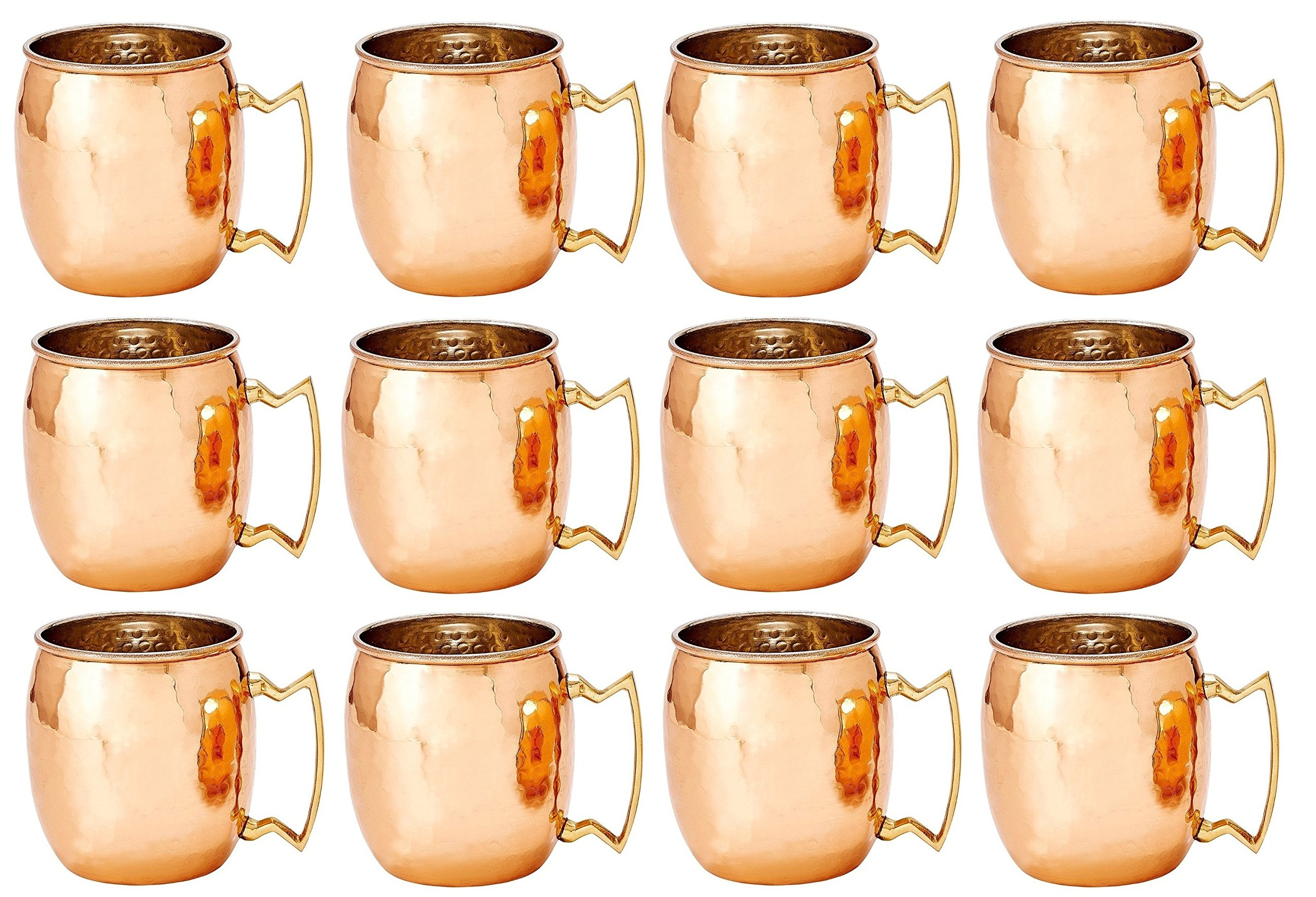 Hand Hammered Moscow Mule Solid Copper Mug / Cup, 16 Ounce, Set of 12