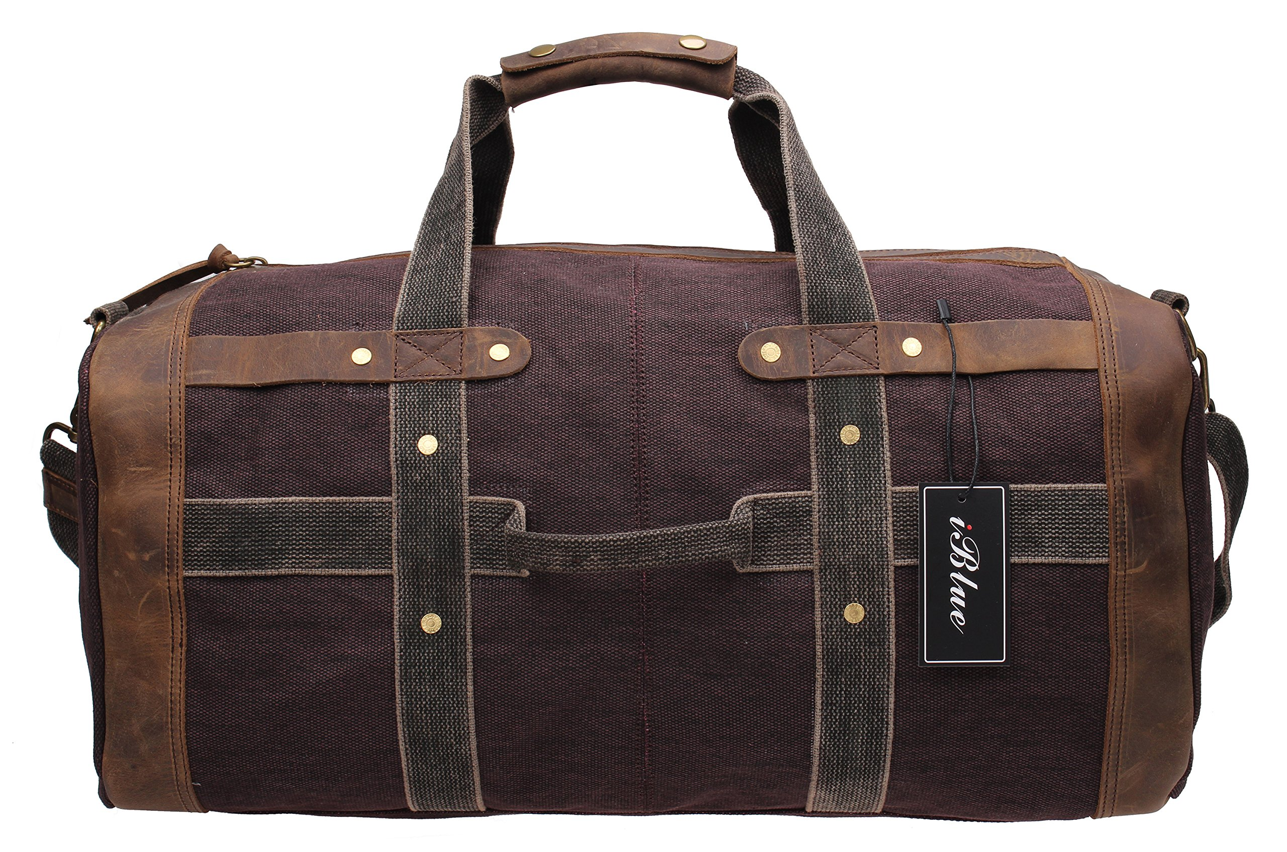 Iblue Weekend Bag Travel Duffel Bags For Men Canvas Carry On #B007(XL, coffee) by iblue (Image #2)