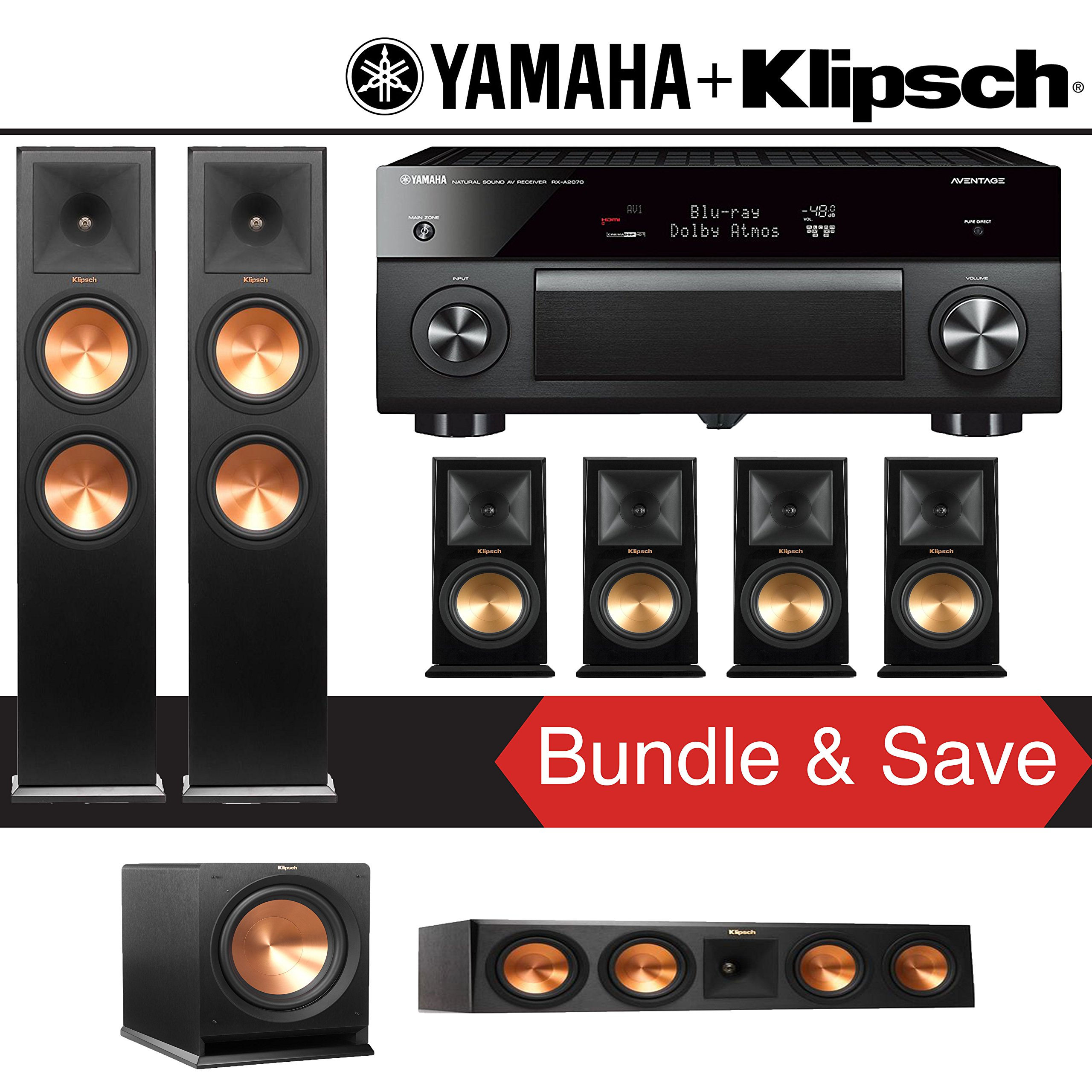 Klipsch RP-280F 7.1-Ch Reference Premiere Home Theater System with Yamaha AVENTAGE RX-A2070BL 9.2-Channel Network A/V Receiver