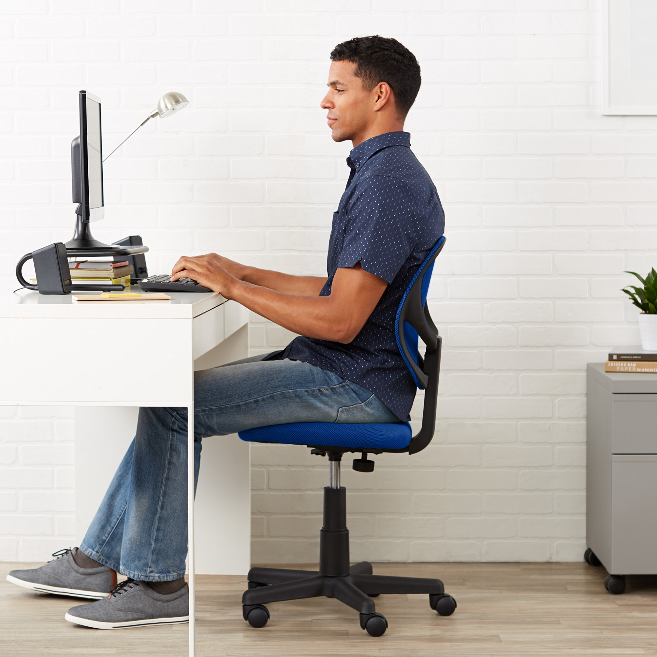 AmazonBasics Low-Back Computer Task Office Desk Chair with Swivel Casters - Blue by AmazonBasics (Image #2)