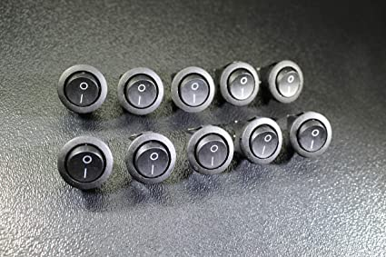 20 PCS ROUND ON OFF ROCKER SWITCH MINI TOGGLE 12V 20 AMP 3//4 MOUNT HOLE EC-1213
