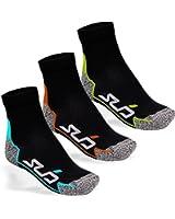 Sub Sports Unisex Running Ankle Socks 3 Pair Pack Moisture Wicking Seamfree Toe - Dual Range