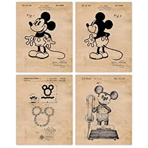 Vintage Mickey Mouse Patent Vintage Style Poster Prints, Set of 4 (8x10) Unframed Photos, Wall Art Decor Gifts Under 20 for Home, Office, Garage, Man Cave, College Student, Teacher, Walt Disney Fan
