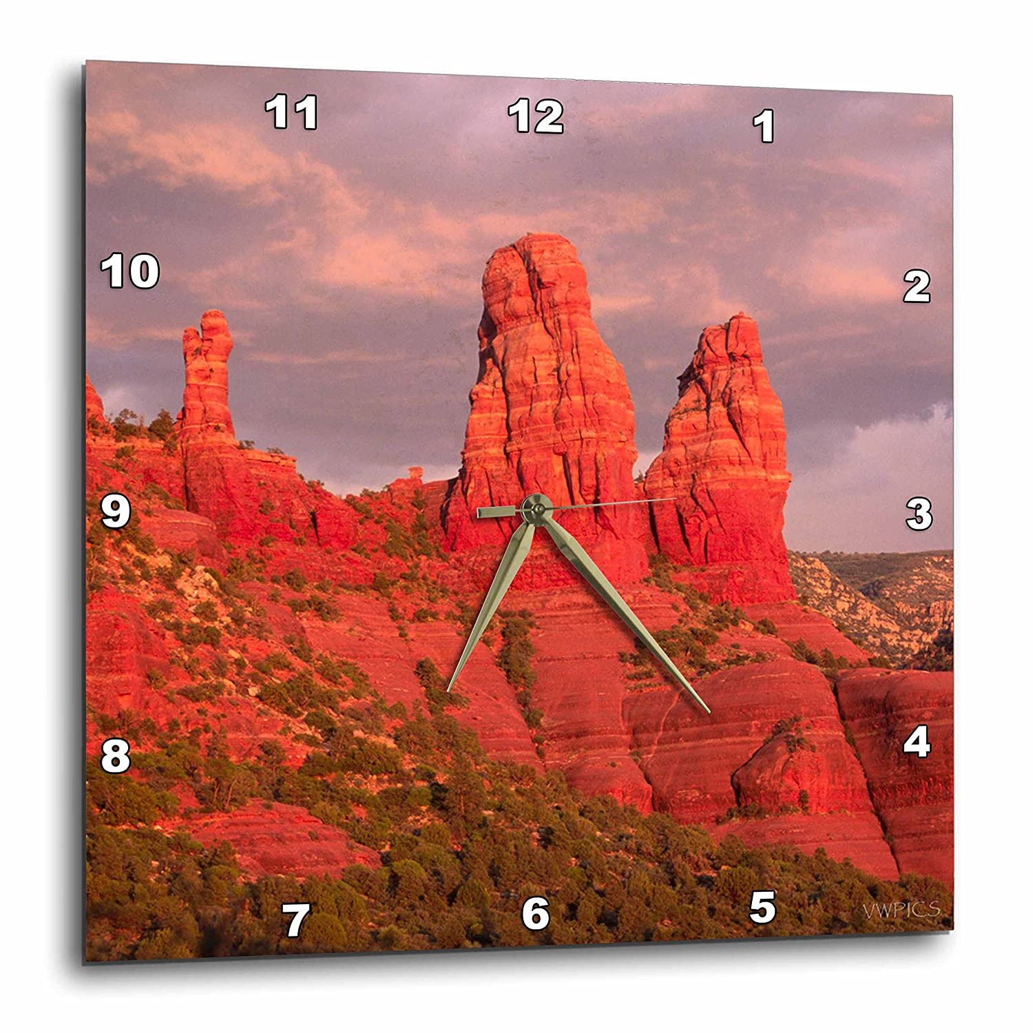 Arizona-Wall Clock 13 by 13-Inch 3dRose dpp/_45781/_2 Red Rock FormationsSedona