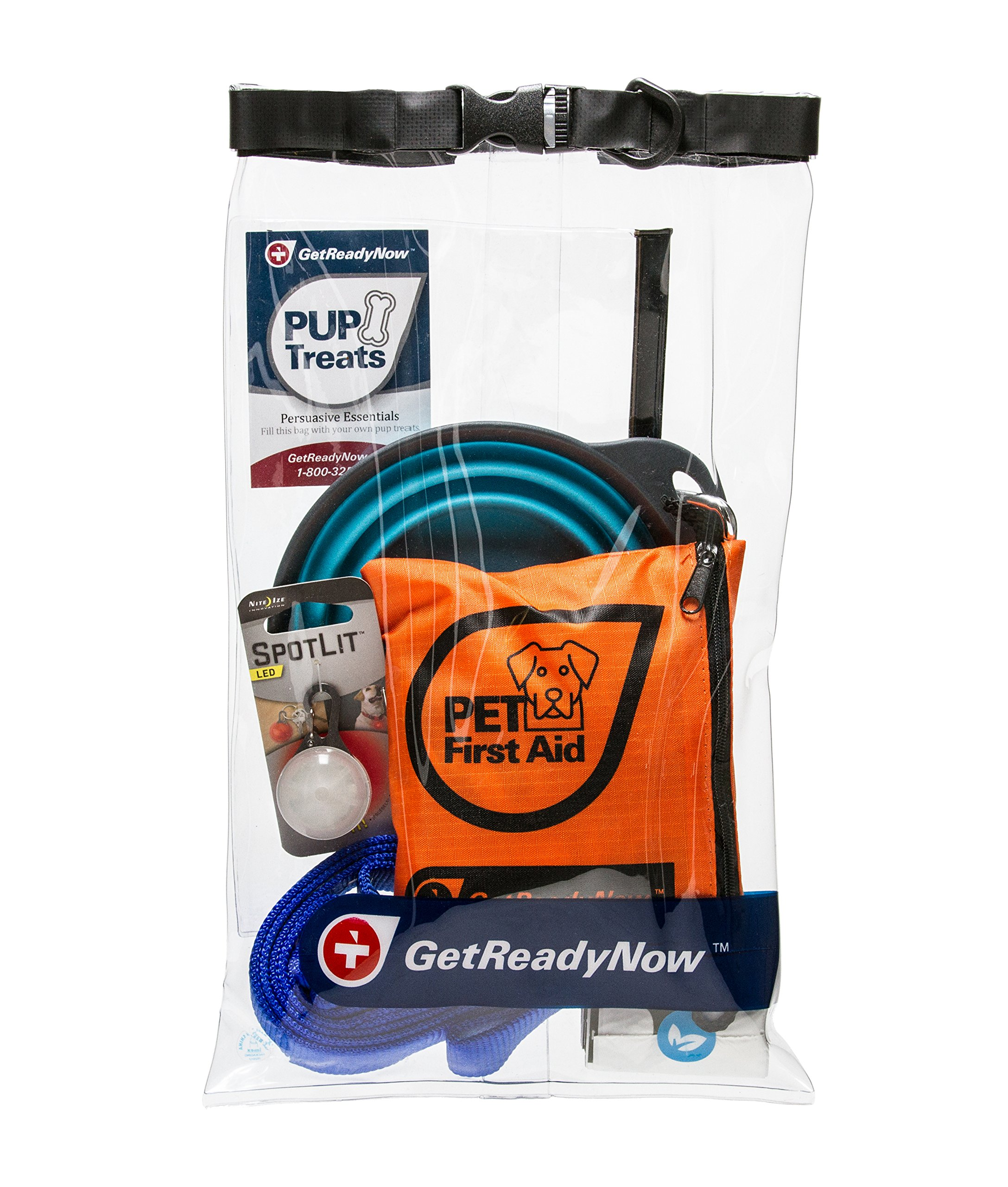 GETREADYNOW Pups & Peeps Essential Pet First Aid Kit with Leash and Treats - Emergency Survival Kit + Deluxe Supplies to Rescue Pets and Keep Your Four-Legged Friend Safe on The Road, Dog Camping Gear by GETREADYNOW