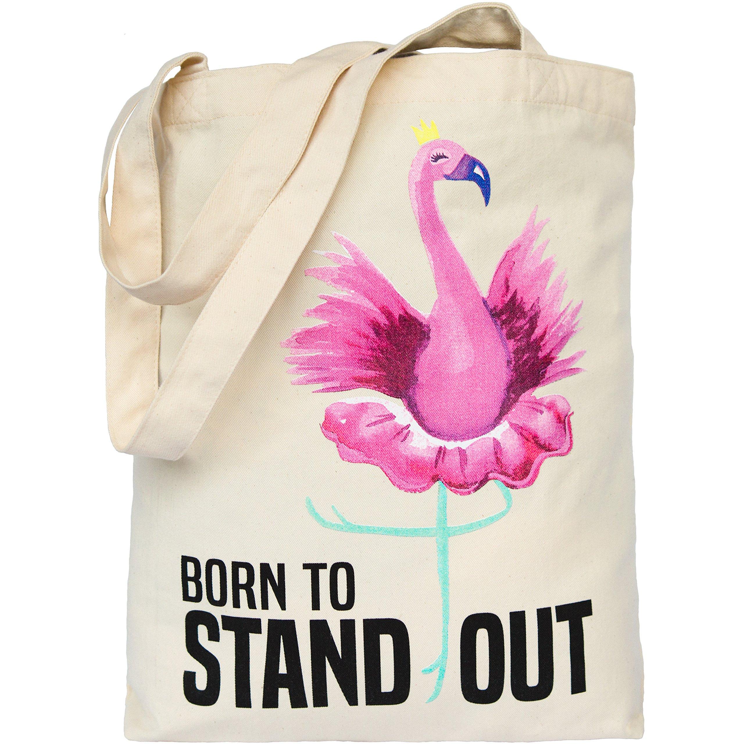 Pink Flamingo Tote Bag Printed Eco Canvas Cotton Handbag for Beach Women Girls Gift