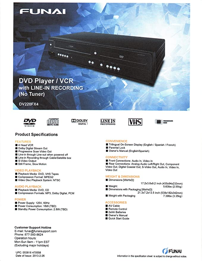 Funai Corp  DV220FX4 Combination Video and DVD Player (2014 Model)