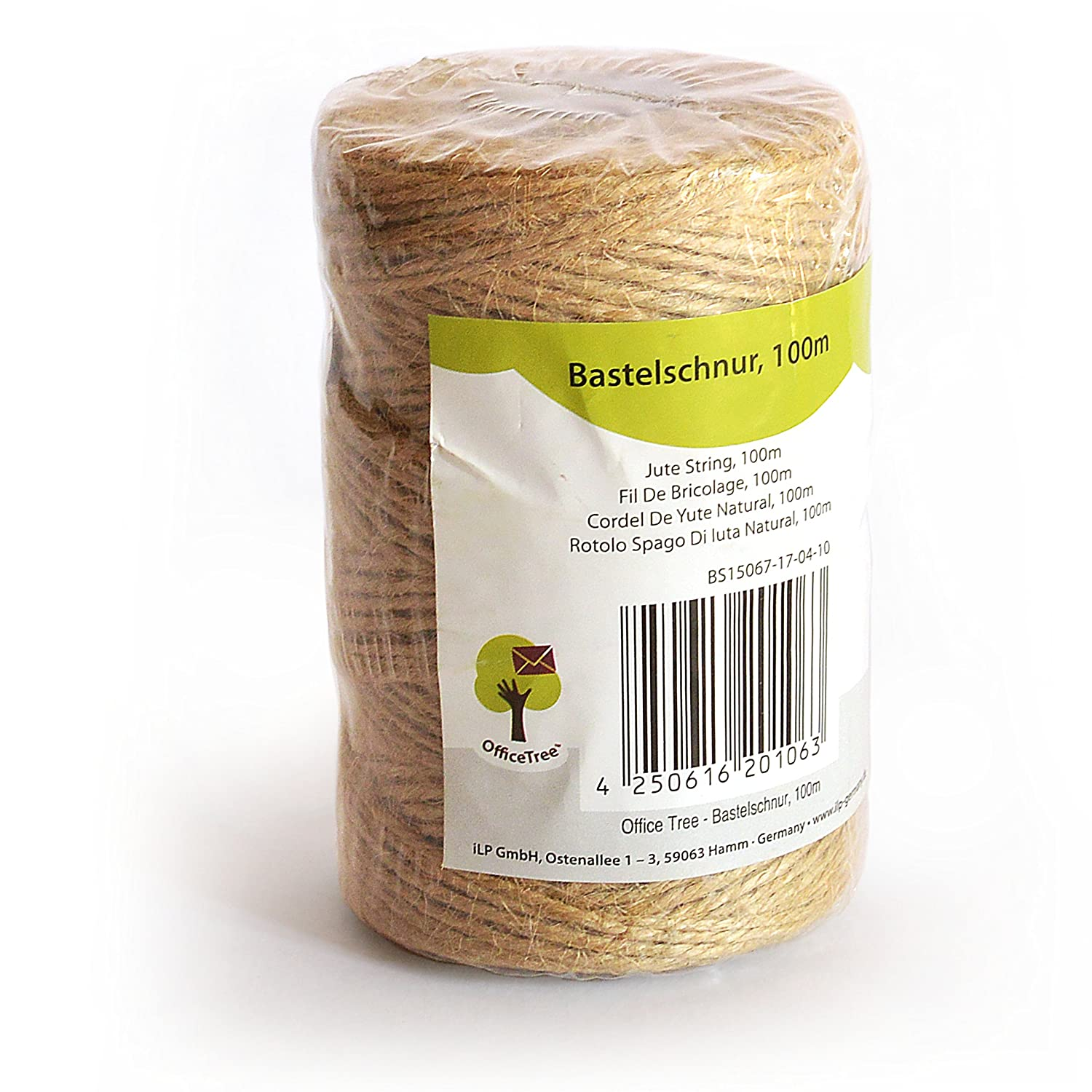 OfficeTree ® Craft Twine - 100 m Roll - Jute String - High Quality Natural Product for Household, Garden, Crafts, Decoration (1 Roll) iLP GmbH