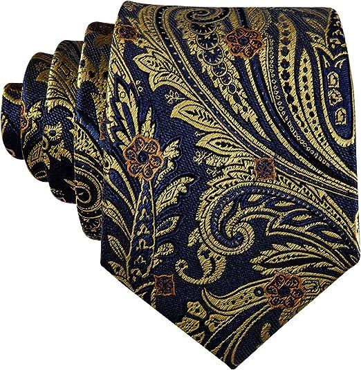 Barry.Wang Corbatas de boda para hombre corbata de seda negro ...
