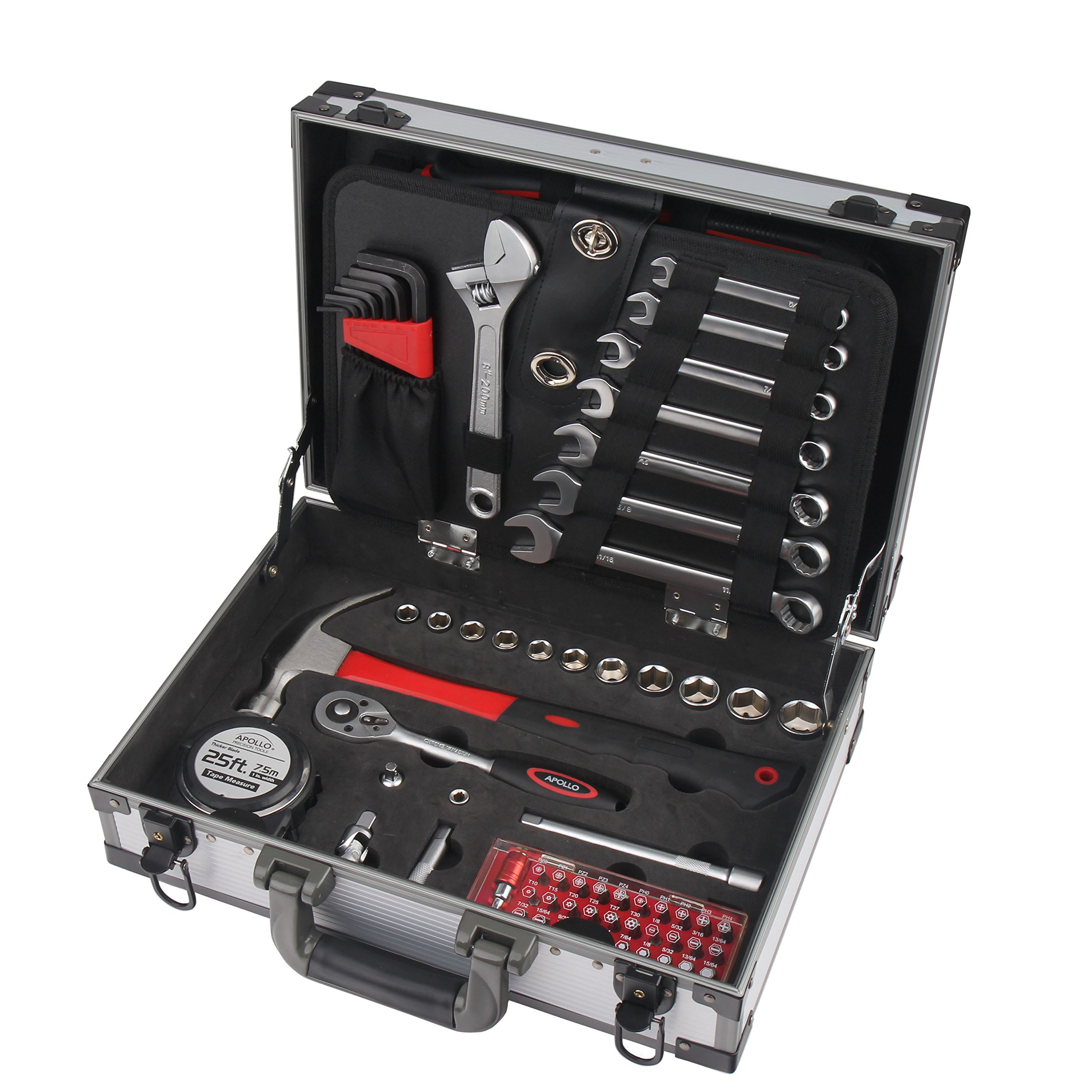 Apollo Tools DT4935 91 Piece High-Grade Chrome Vanadium Cr-v Steel General Tool Set with Sockets, Wrenches, Pliers, Hammer, Most-Reached for Repair Tools, in a Strong Aluminum Storage Case