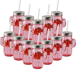 Circleware 06367 Huge Set of 9 Mason Jars Drinking Glasses with Metal Lids and Hard Straws Glassware for Water Beer and Kitchen & Home Decor Bar Dining Beverage Gifts, 15.5 oz, Pink Cactus