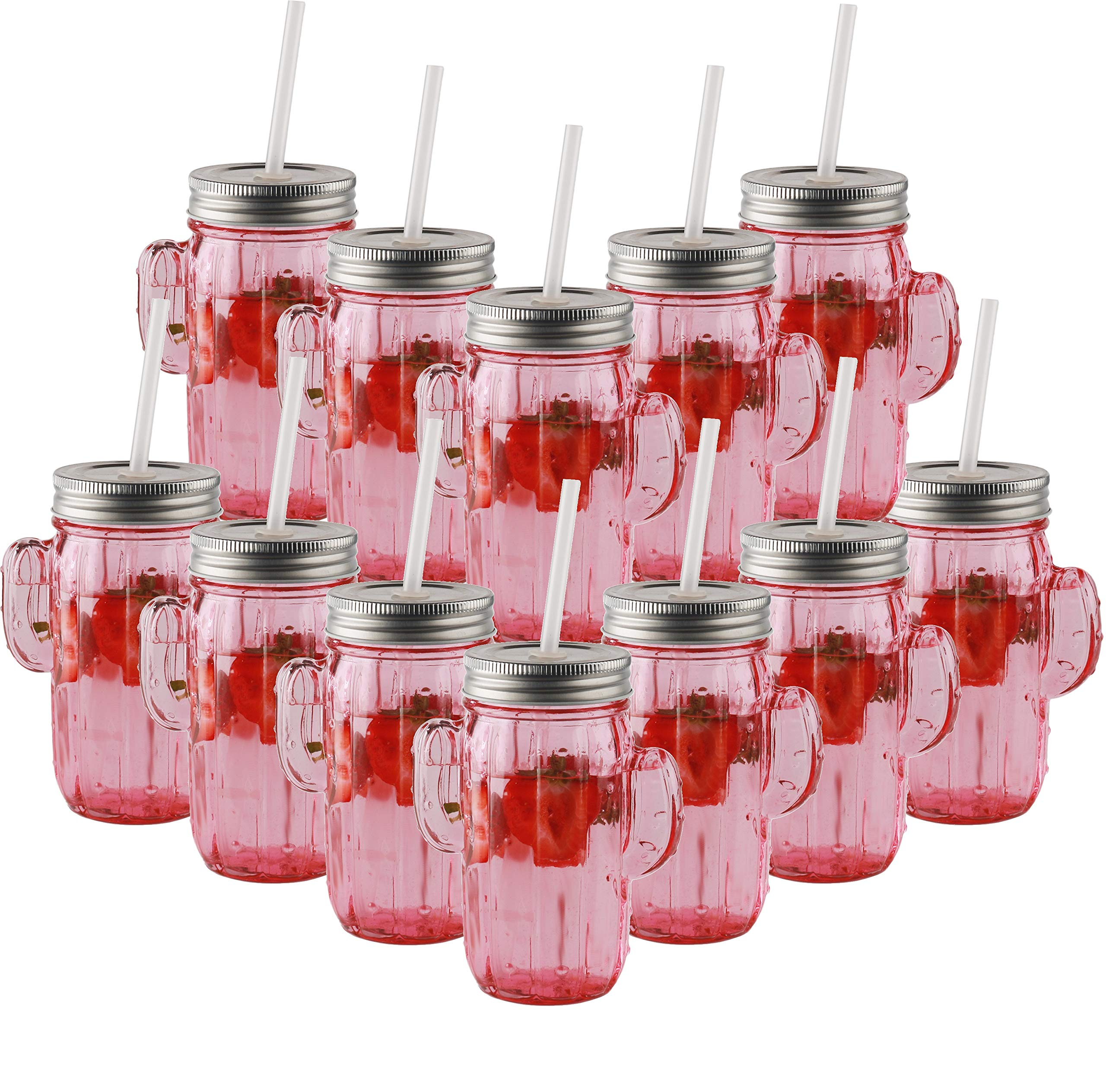 Circleware 06367 Huge Set of 12 Mason Jars Drinking Glasses with Metal Lids and Hard Straws Glassware for Water Beer and Kitchen & Home Decor Bar Dining Beverage Gifts, 15.5 oz, Pink Cactus-12pc