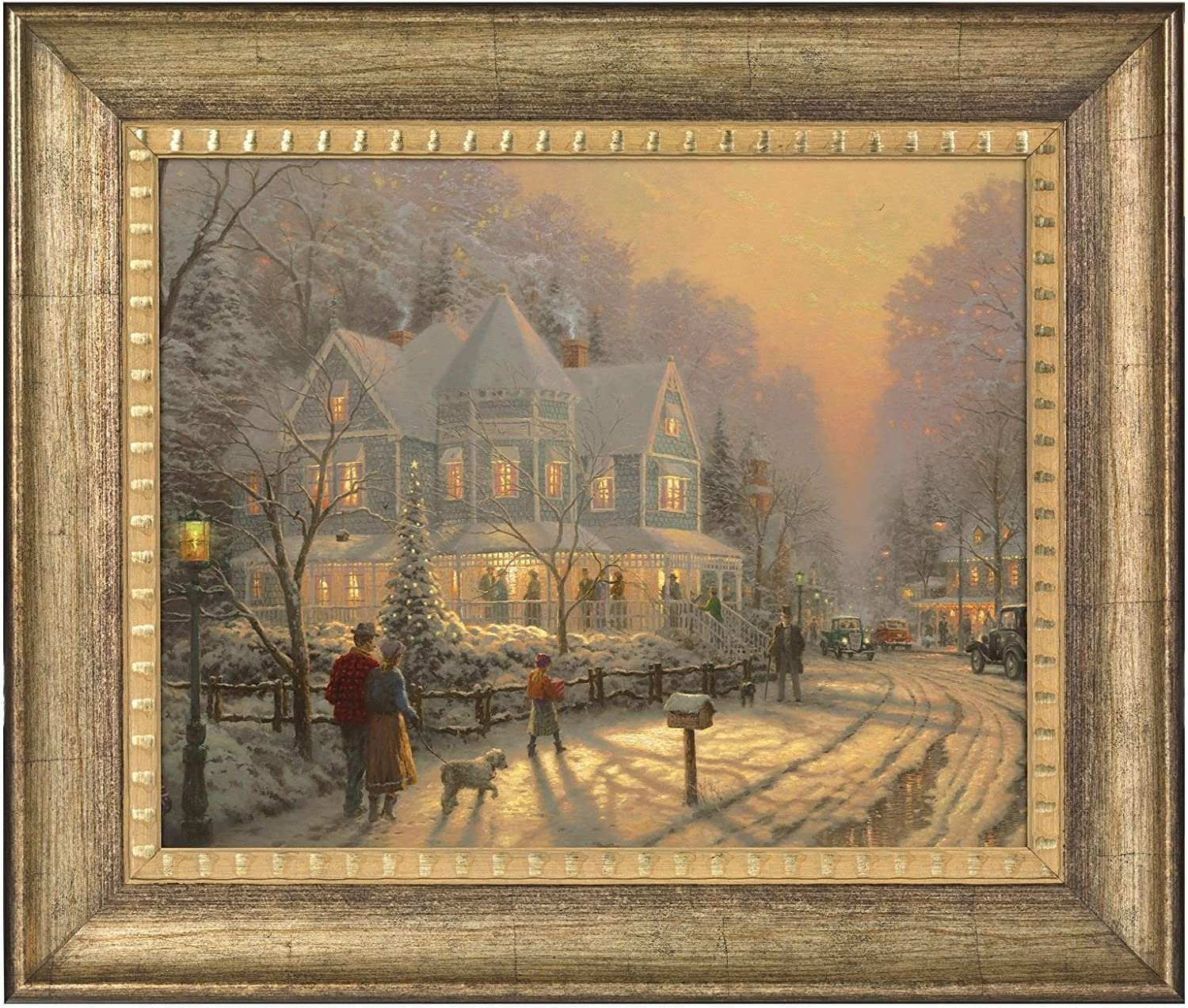Amazon Com Thomas Kinkade A Holiday Gathering 16 X 20 Brushstroke Vignette Burnished Gold Posters Prints