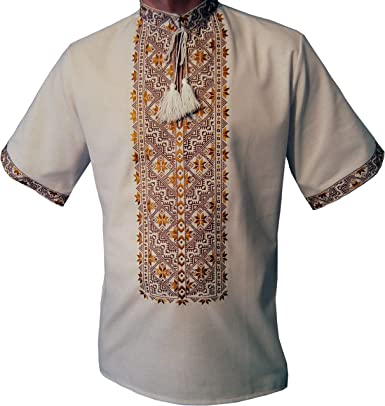 Camiseta de manga corta bordada ucraniana, Sorochka para hombres, étnica nueva tradicional patriótica