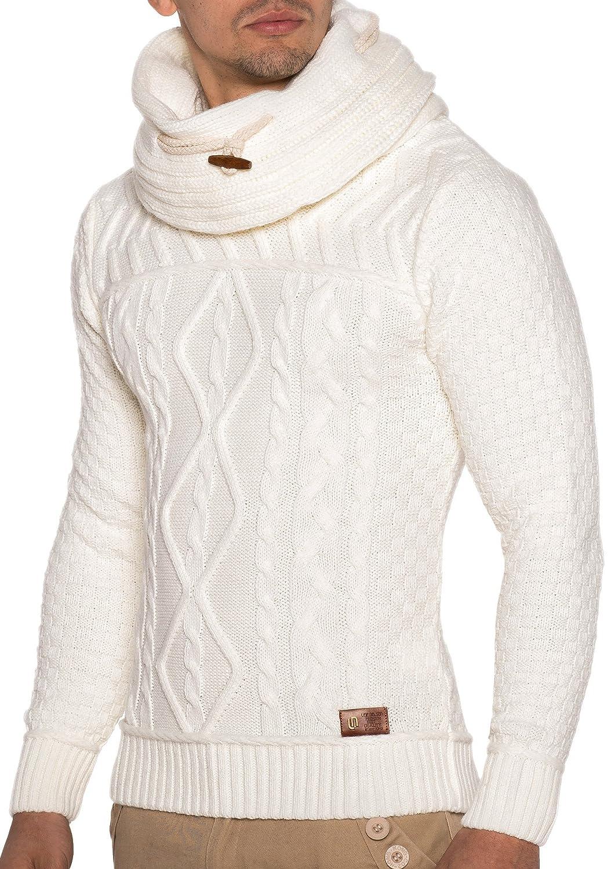 LEIF NELSON Men's Knit Jumper LN7025 - White/Beige, L LN7025WE-L
