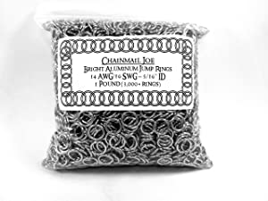 "1 Pound Bright Aluminum Chainmail Jump Rings 16G 5/16"" ID (3000+ Rings!)"
