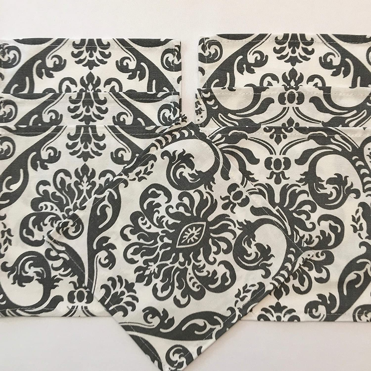 Set of 4 Cotton Gray and White Regal Design Napkins 11.5 By 11.5 Inches