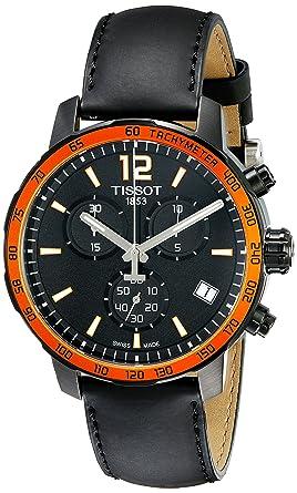 ecd4574af03 Image Unavailable. Image not available for. Color: Tissot Men's  T095.417.36.057.01 'Quickster' Black Dial Black Leather Strap Chronograph