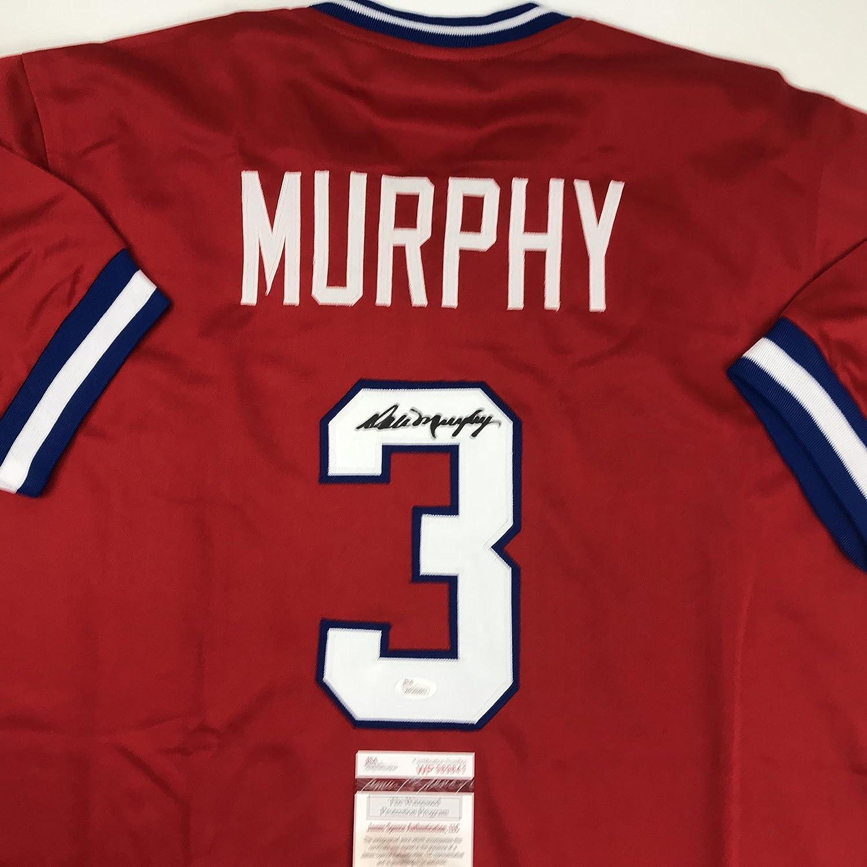 Autographed/Signed Dale Murphy Atlanta Red Baseball Jersey JSA COA