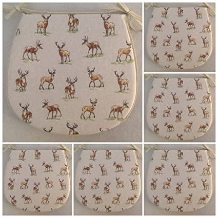 For Seats Approx.14 Wide X 14 Deep SET OF 4 BUTTERFLY PATTERN TIE ON CHAIR SEAT PADS