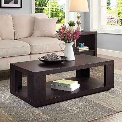 Contemporary Design Steele Rectangle Coffee Table for Living Room Made of  Wood in Espresso Finish 40\