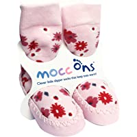 Sock Ons Mocc Ons Moccasin Style Slipper Socks for12-18 Month Babies, Pink