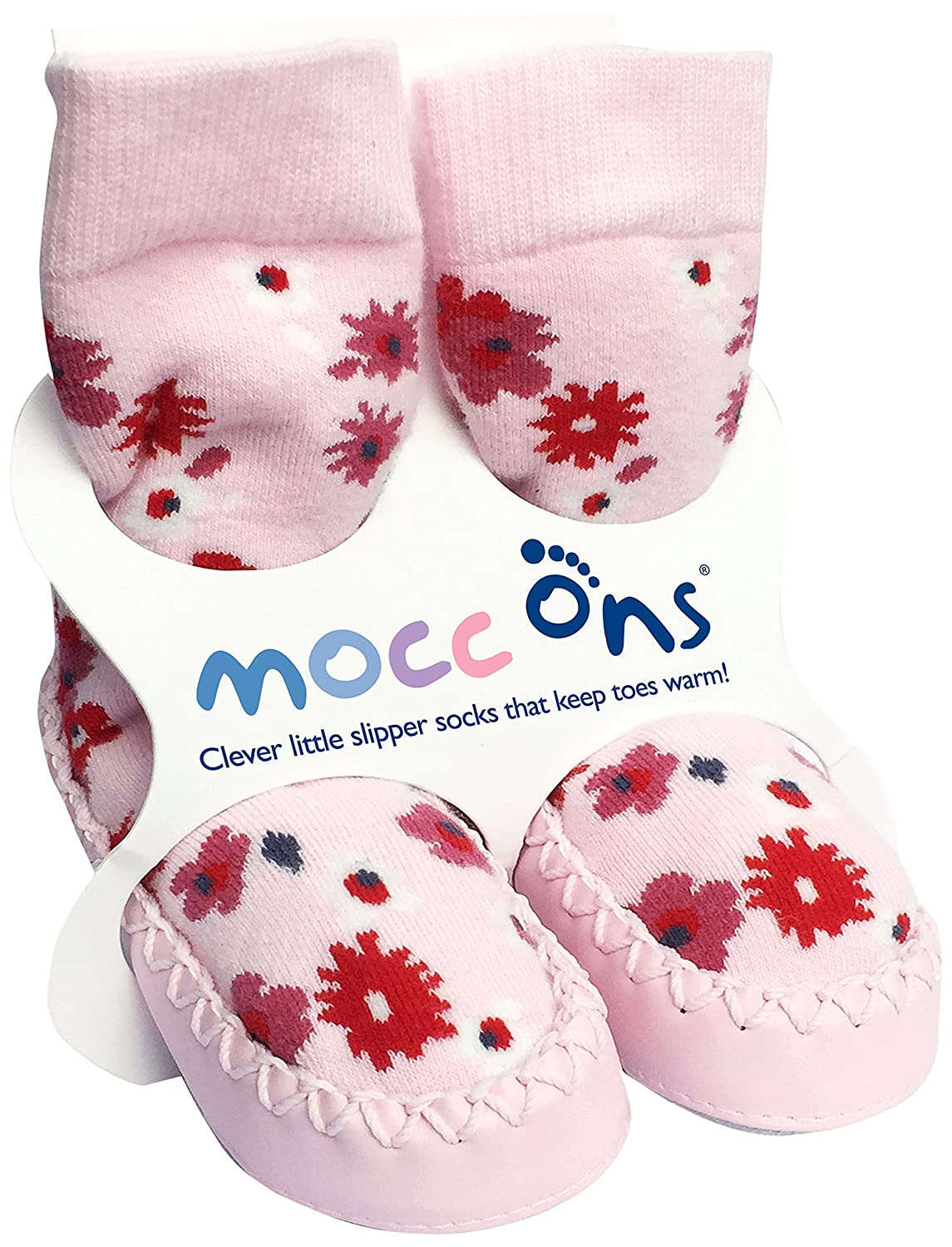 Mocc Ons Cute Moccasin Style Slipper Socks, Floral Ditsy - 6-12 Months MOCCONFD6-12