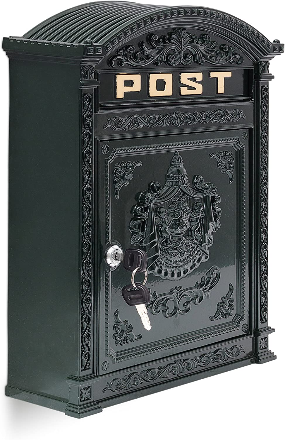 with Roof 44.5 x 31 x 9.5 cm Cast Aluminum for DIN A4 Letters Bronze Relaxdays Antique Letterbox English-Style Wall-Mount Mailbox