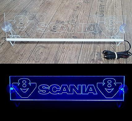 Panneau Lumineux de Table Camion Cabine Accessoires de d/écoration grav/és 24 V//5 W Red G/én/érique Plaque Lumineuse LED 24 V avec Logo et V8 pour camionnette