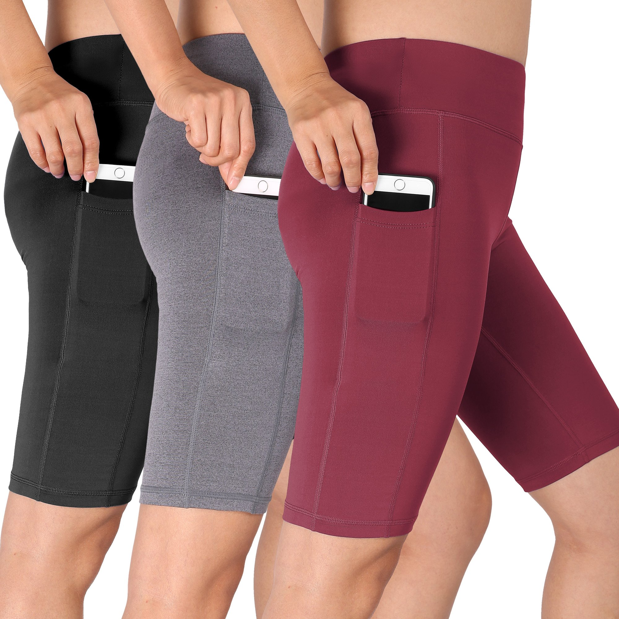 Cadmus Women's High Waist Athletic Running Workout Shorts with Pocket,3 Pack,06,Black,Grey,Wine Red,XX-Large