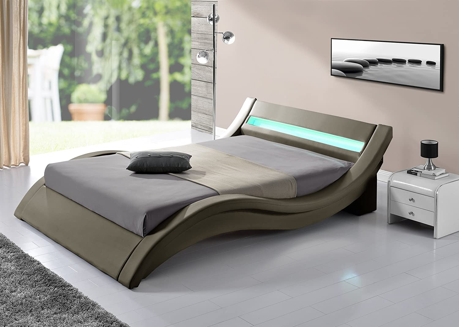 Pillow Bett PU TAUPE matt Hat LED 160 x 200 cm