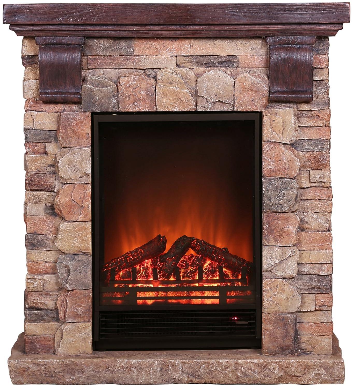 grau EL FUEGO Elektrisches Kaminfeuer Rocky Mountains mit Fernbedienung