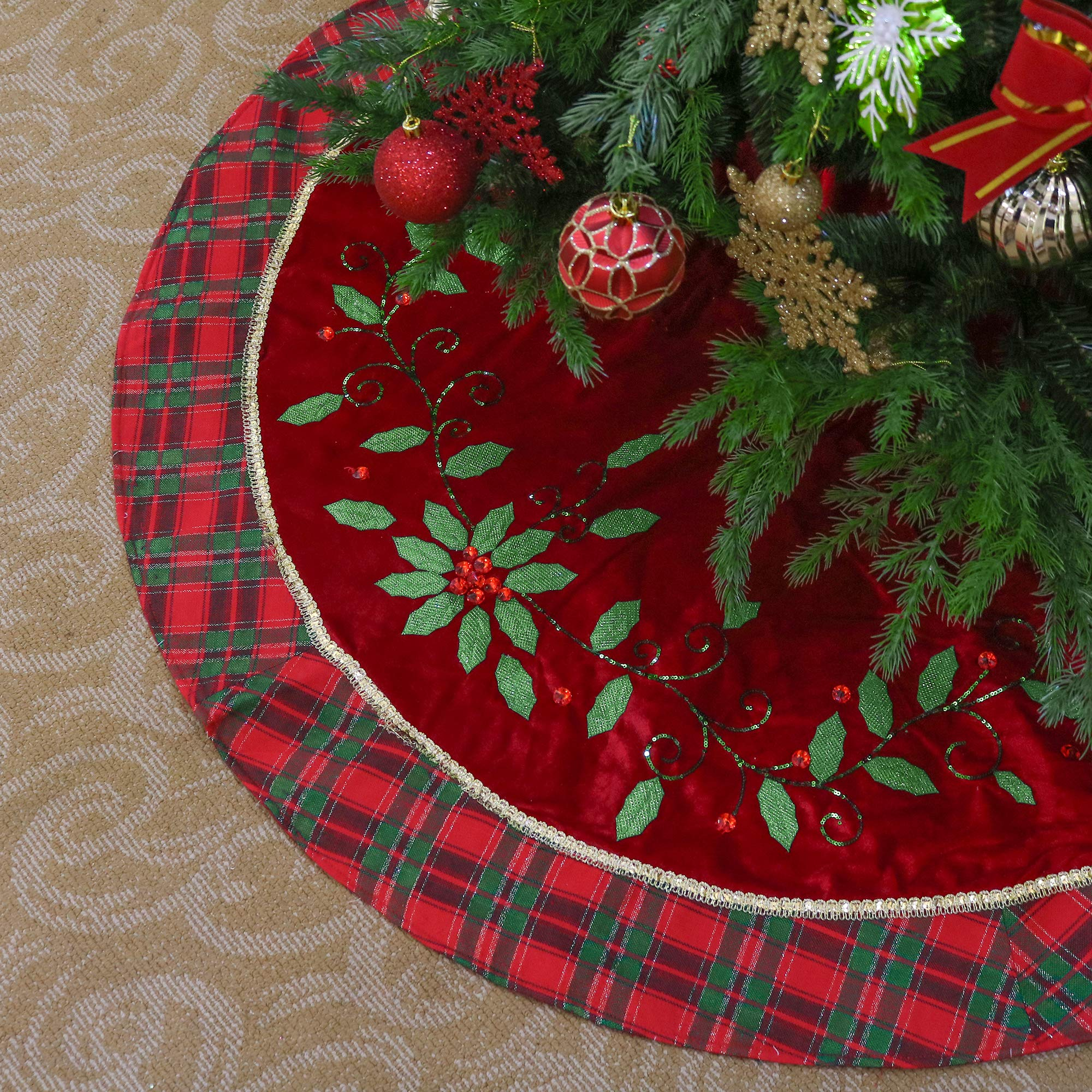 Valery Madelyn 48 Inch Traditional Red Green Gold Christmas Tree Skirt With Holly Leaves And Tartan Trim Themed With Christmas Ornaments Not