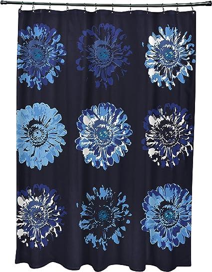 E By Design Scfn557bl14 Gypsy 2 Floral Print Shower Curtain Navy Blue Home Kitchen