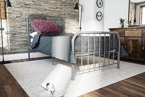 Amazon Com Novogratz Bellamy Metal Bed Frame With Under Bed Storage Grey Twin Furniture Decor