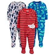 Simple Joys by Carter's Boys' 3-Pack Loose Fit Flame Resistant Polyester Jersey Footed Pajamas, Iguana/sea Creatures/Shark, 6-9 Months