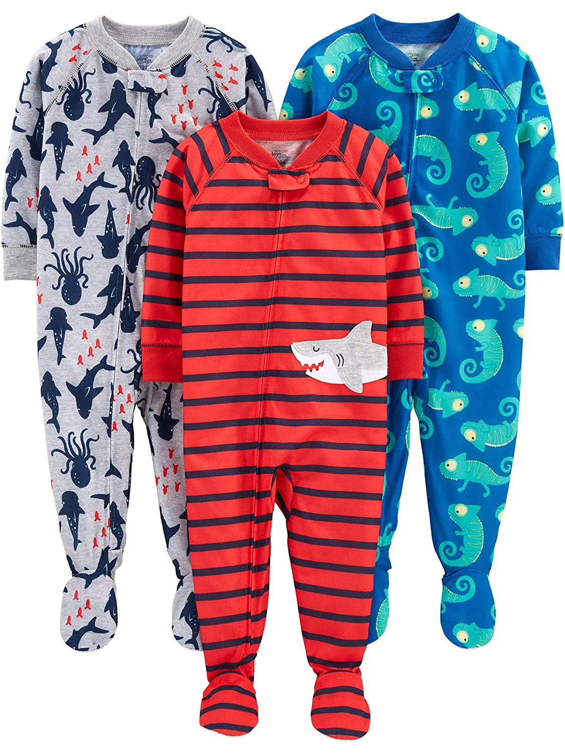 Pack of 3 Simple Joys by Carters Baby Boys 3-Pack Loose Fit Flame Resistant Fleece Footed Pajamas