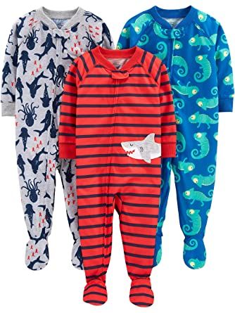 Simple Joys by Carters Baby and Toddler Girls 3-Pack Loose Fit Polyester Jersey Footed Pajamas