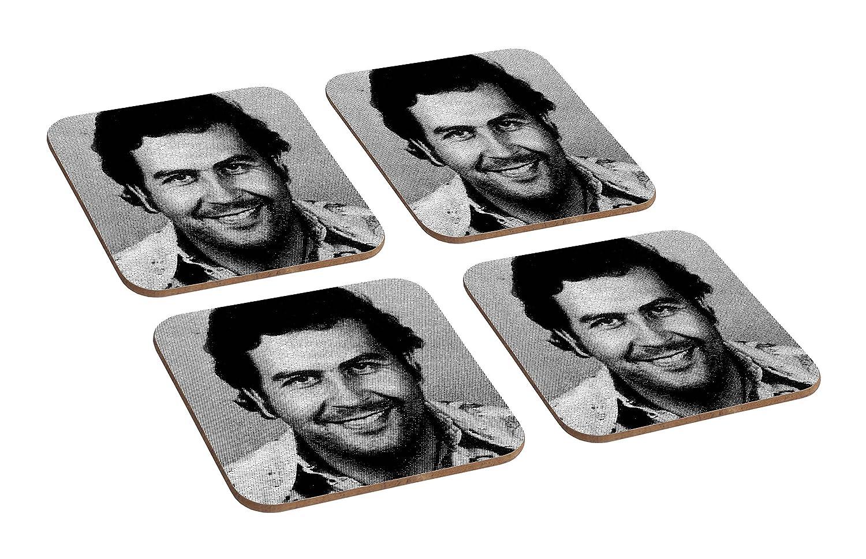 Ensemble de 4 sous-verre en bois Pablo Escobar